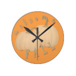 Welcome Fall Rustic White Pumpkins Round Clock
