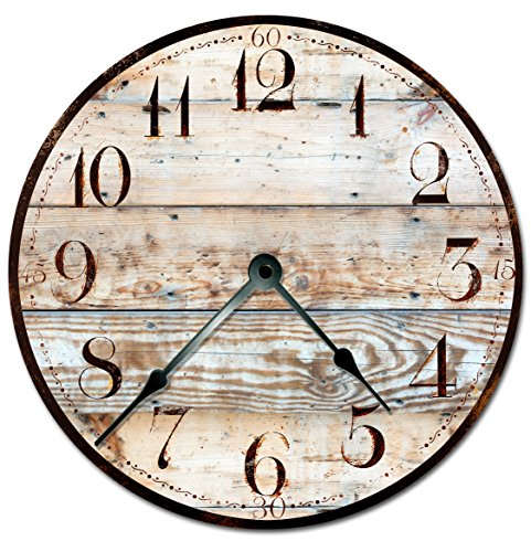 RUSTIC TAN WOOD CLOCK Extra Large 15.5″ to 16″ Wall Clock – Decorative Round Wall Clock – PRINTED WOOD IMAGE