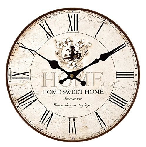 Upuptop 14inch Home Sweet Home Classic Vintage Design Rustic Home Themed Wooden Wall Clock Decorative Living Room