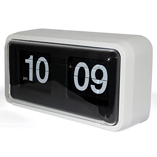 Creative Flip Clock, KABB Silent Designing Modern Minimalist Retro Style Auto Flip Down Wall Clock with Large Numbers for Office,Home Decor (10 Inches )-White