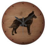 Belgian Malinois Silhouette Rustic Style Large Clock