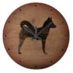 Canaan Dog Silhouette Rustic Style Large Clock