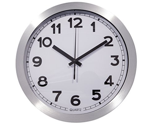 Large Decorative Wall Clock- Quartz Silent Sweep Function- Easy to Read – Modern Aluminum Stainless Design – Battery Operated – Office Space