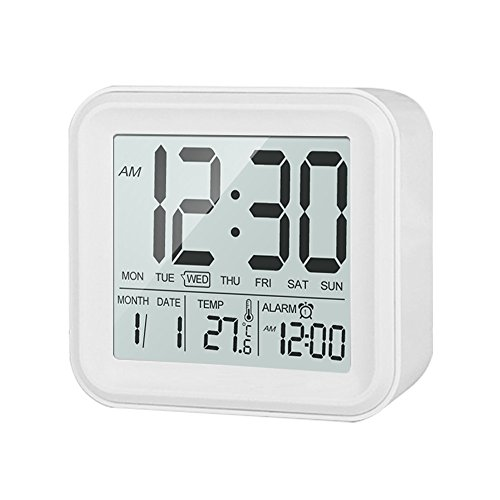 HeQiao Slim LCD Morning Clock Digital Progressive Large Display Travel Alarm Clock Battery Operated Loud Wake Alarm Clock with Calendar Temperature Snooze Backlight for Home Office-White
