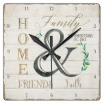 Farmhouse Shiplap Wood Home Friends Family Name Square Wall Clock