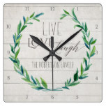 Farmhouse Shiplap Wood Rustic Leaf Wreath Family Square Wall Clock
