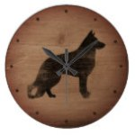 German Shepherd Dog Silhouette Rustic Style Large Clock