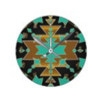 Gold & Teal Turquoise Black Grey Southwestern Glam Round Clock