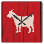Rustic Farmhouse Goat Red Wood Panel Square Wall Clock
