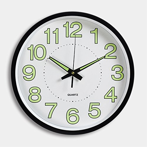 Night Light Clock,Foxtop 12-Inch Luminous Wall Clock Glowing in Dark with Silent Non-ticking Movement for Indoor Kitchen Home with Large Number Battery Operated (Black & Green)