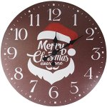 Lulu Decor, Santa Merry Christmas Rustic Round Wood Wall Clock 23.50″ in clear arabic dial, perfect for christmas gift/holiday gift (Santa)