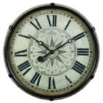Derby Compass Decorative Wall Clock, Vintage Unique Wall Clock for Outdoor and Home Decor, Black – Large