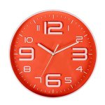 Indoor Big 3D Number Quartz Silent Non Ticking Wall Clock Quiet Sweep Movement Decorative Battery Operated 10 Inch Orange
