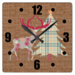 Boho Stag and Christmas Tree on Burlap Effect Square Wall Clock