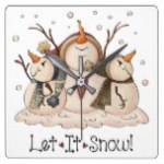 Christmas Snowman Rustic Country Primitive Winter Square Wall Clock