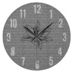 Cool Rustic Fabric Look Lily Flower Wall  Clock