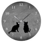 Cute cats silhouettes on chalkboard large clock