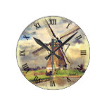 Cute Rustic Vintage Dutch Windmill Watercolor Round Clock
