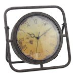 Stonebriar 10 Inch Decorative Rustic Metal Table Top Clock with Roman Numerals and Easel, Industrial Home Decor, Sweep Second Hand, For Mantel, Shelf, or Any Table Top, Battery Operated