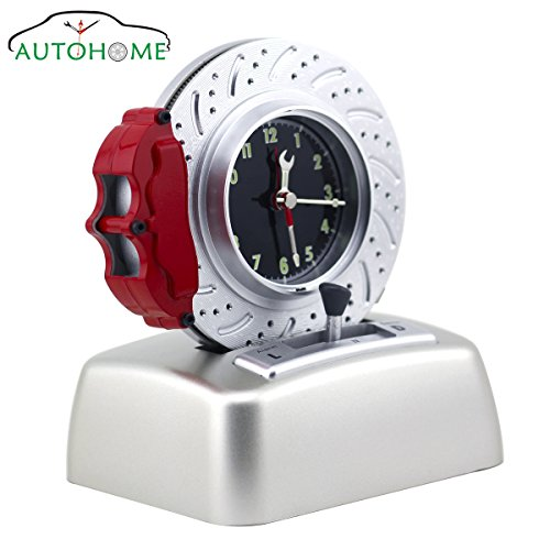 Kids Alarm Clock No Ticking Analog, Battery Operated Cool Car Lover Rotating Tire Bell with V8 Engine Ringer 3D Unique Smart Alarm Clocks for Bedrooms and Office Desk (White)