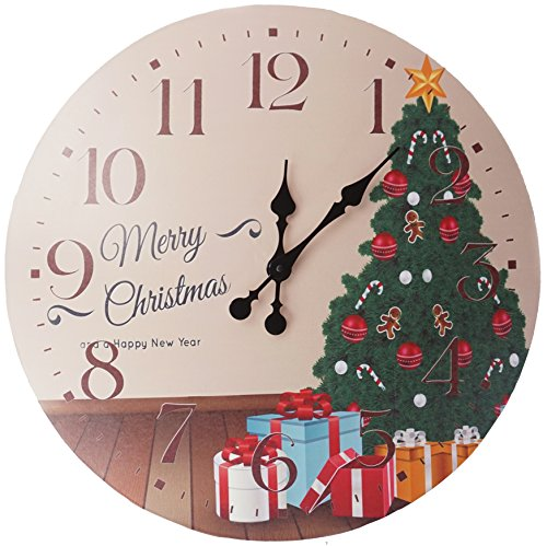 Lulu Decor, Merry Christmas with christmas tree Rustic Round Wood Wall Clock 23.50″in clear arabic numbers, perfect for christmas gift/holiday gift (Christmas Tree)