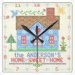 Home Sweet Home Cross Stitch House | Family Name Square Wall Clock