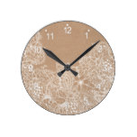 Modern white hand drawn floral illustration on rus round clock