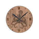 Octopus Wood Look Wall Clock