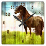 Rustic Brown Horse Painting Wall Clock