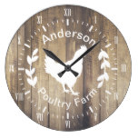 Rustic Farmhouse Poultry Farm Hen & Family Name Large Clock