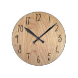 Rustic Modern Unfinished Wood Pattern Printed Round Clock