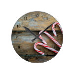 Rustic Wood with Christmas Candy Canes Round Clock