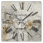 Rustic World Map Square Wall Clock
