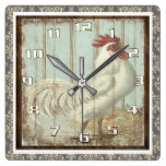 Vintage Rooster on a Rustic Wooden Board Ornate Square Wall Clock