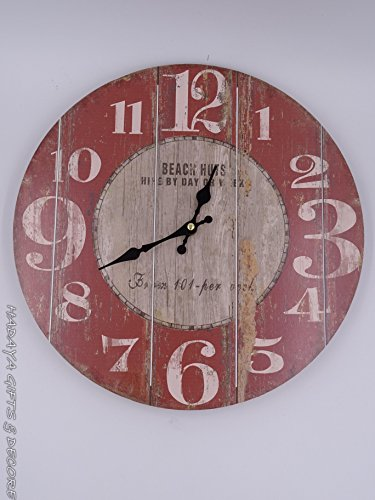 Beach themed 13 inch round wall clock, shabby chic, RUSTIC FADED LOOOK