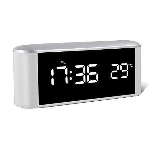 LED Alarm Clock, HeQiao Multi-fuction Touch Sensitive Large Battery Digital Alarm Clock Mirror Makeup USB Rechargeable Eye-Care Travel Alarm Clock W/ Temperature Snooze for Home Office – Ivory White