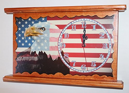American Eagle USA Flag Clock Personalized Wall or Mantel