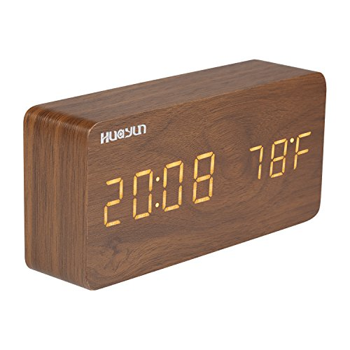 Wood Alarm Clock,Digital Clock With 3 Levels Brightness, 3 Groups of Alarm Time,Displaying Date Time Temperature and Voice Touch Activated. (Yellow)