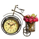 Handmade Generic Vintage Metal Rustic Bicycle Clock Bike Shaped Double Side Table Decorative Clock for Home Decor with Basket