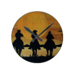 cowboys and horses round clock