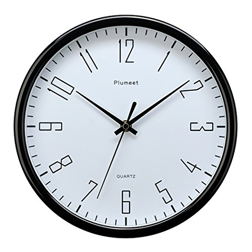 Plumeet 10″ Silent Wall Clock with Large Graceful Numbers and Non-ticking Digital, Modern Design Good for Bedroom and Kitchen Battery Operated (Black)