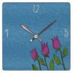 Floral Artistic Rustic Blue Texture Oil Paint Chic Square Wall Clock