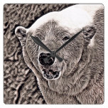 rustic style – polar bear square wall clock