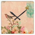Shabby chic, bird,butterfly,lace,floral,country ch square wall clock
