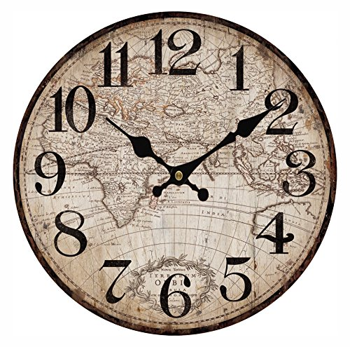 Upuptop 14″ Faded Rustic Old Design Wall Decor Round Wood Clock with Vintage Antique Map Pattern