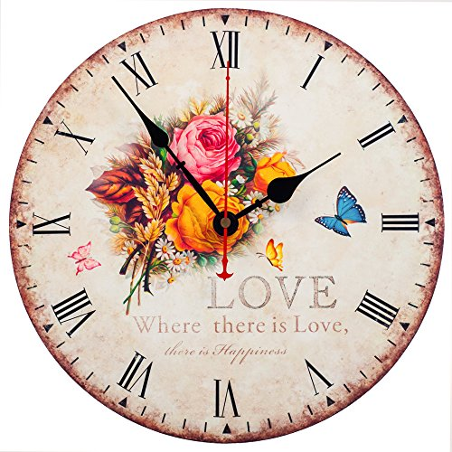 KI Store Silent Wall Clocks Non Ticking Large Round Vintage Rustic Decorative World Clock Ultra-thin (Rose)
