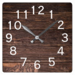 Authentic looking Dark wood Square Wall Clock