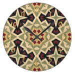 Ivory Red Olive Green Black Eclectic Ethnic Look Large Clock