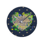 Personalized Mom Wall Clock – Blue Rustic Hearts