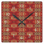 Red Brown Beige Orange Eclectic Ethnic Art Square Wall Clock